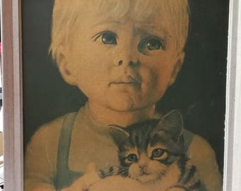 Retro 1960s Very Large, boy/ cat, Young Friends, by Jacqueline Bialeska