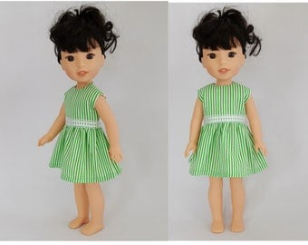 Green & white striped dress fits Wellie Wisher dolls
