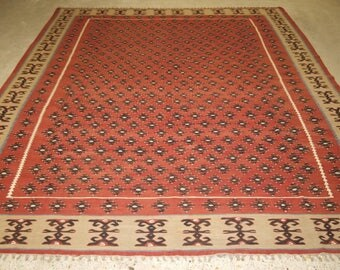 Old Turkish Sharkoy Kilim, Large Size, Great Boarder, About 60 Years Old.