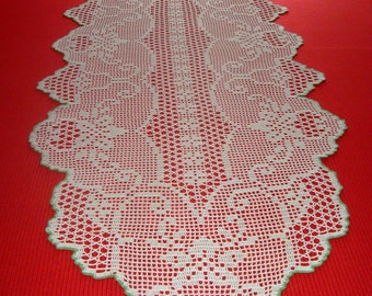 Crochet handmade table runner - 100% cotton - Ecru color and green border - Dimensions : 222 cm x 55 cm