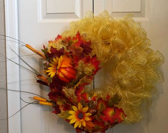Yellow fall wreath leaves