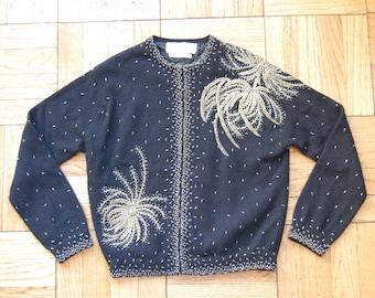 XS / Vintage 50s Beaded Cardigan / 1950 Hand Beaded Lambswool Angora Rabbit Sweater / Gold & Silver Beading / Lotus Export Enterprises