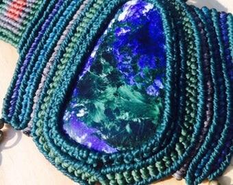 Azurite malachite crystal necklace