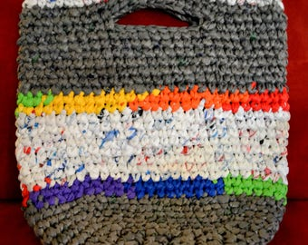 Eco-friendly Tote Bag - Gray Base Color - Violet, Royal, Lime, Yellow, Orange, Red (Rainbow) and White Accents
