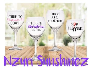 Glitter Stem Wine Glass, Custom Wine Glass, Wine Glass