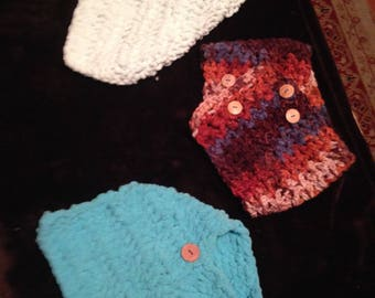 Neck warmers/ scarves with buttons.