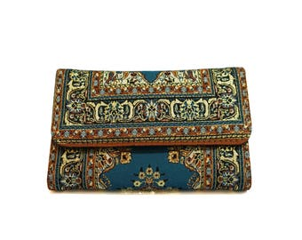Blue Boho Wallet Hippie Wallet Womens Pocketbook Magic Carpet Billfold Snap Pouch Paisley Clutch Gift for Her Vegan Wallet Oriental Bag