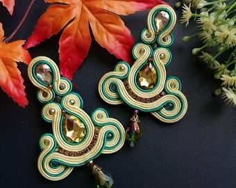 Soutache Earrings Statement Elegant Dangle Drop Earrings Yellow Crystal Cream and Green Earring