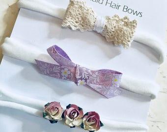 vintage style headband bow set