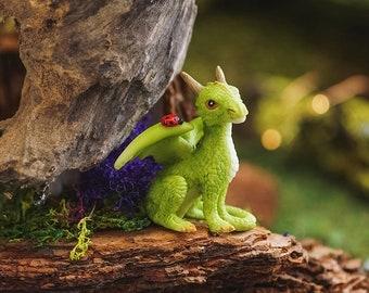 Mini Green Dragon with Ladybug - Miniature Fairy Garden Supply