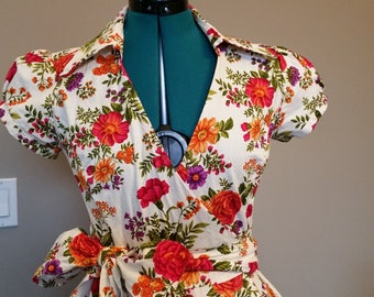Floral Wrap Summer Dress