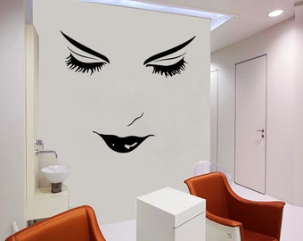 Wall Decal Window Sticker Beauty Salon Woman Face Eyelashes Lashes Eyebrows Brows t36