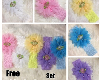 Baby girl headbands set of 5 lace chiffon flower with pearls
