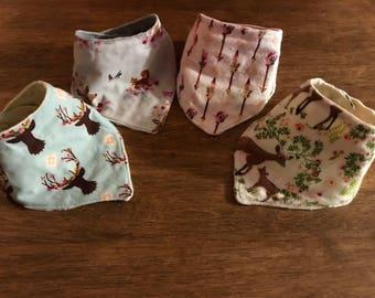 Baby Bandana bib set / 4- pack minky bibs/ baby bibs / bandana bibs handmade bibs/ baby items / girl baby bibs / baby shower / baby bib/