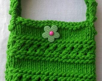 Knit tote bag Mini market bag Bag for kids Hand Knitted Shoulder Bag Mini cozy bag Knit bags perfect for summer Green bag gift for girls