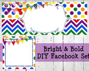 Bright And Bold Facebook Set Editable