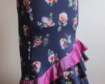 flamenco skirt in Navy and pink