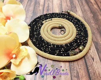 "Beads crocheted necklace lariat ""Arabian night"""