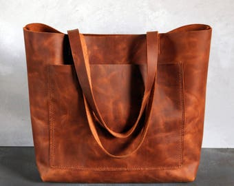 Tote bag Tote bag with pockets Large leather tote bag - Tobacco distressed leather - Hand stitched shopper bag