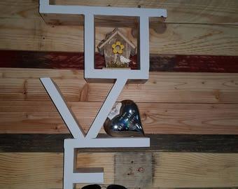 Reclaimed Pallet Wood LOVE Shelf Wall Mounted