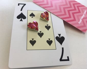 Retro Pink Heart Shaped Pierced Earrings