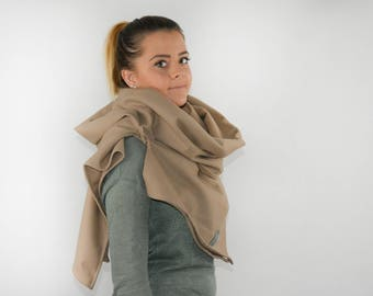 Scarf for tying with virgin wool-share Baige