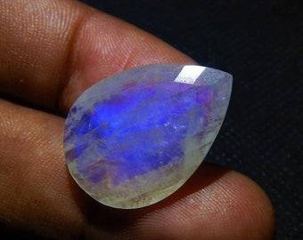 20 Cts 100% Natural Rainbow Moonstone Checker Cut Top Quality Gemstone Very Rare Smooth Blue Flashy Moonstone 25x17x6 mm Pear Shape N#245-9