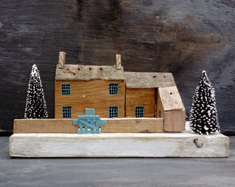 Farm House Christmas Cottage.Handmade painted.Gate.FLOTSAM SOUP STUDIO.Village.Sea Shore.Art.Cornwall.Kent.Wooden Wood.Snow