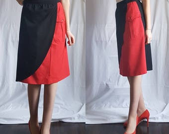 ESCADA size 10 Pure New Wool Made in West Germany 1980s Red and Black Wrap Skirt Pocket Vintage