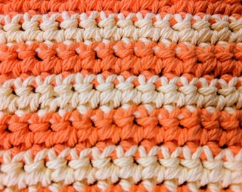 Orange & Yellow Striped 100% Cotton Dishcloth or Washcloth