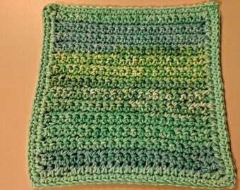 Sea Blue Variegated 100% Cotton Dishcloth or Washcloth