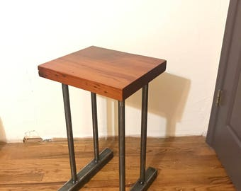 Repurposed Heart Pine Wodd End Table with steel legs