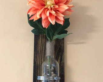 Rustic flower vase wall decor