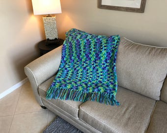 Green, Blue & Purple Shell Pattern Afghan