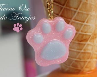 Resin footprint with bright pink and sky blue