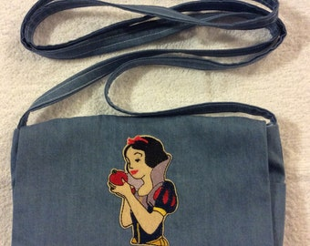 Snow White Denim Over the Shoulder Purse