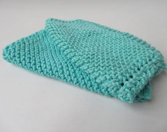 Knit Dishcloths, Set of 2- Turquoise, Handmade in Texas