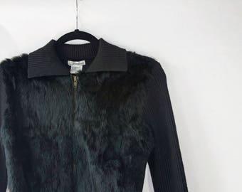 Firedini Chic Black 1990's Rabbit-Fur Sweater