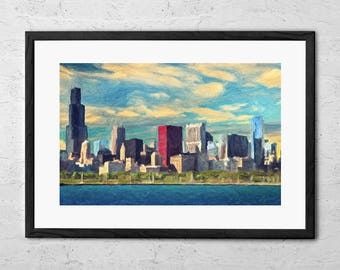 Chicago Skyline   Painting   Chicago Wall Art   Chicago Art   Chicago Print    Chicago