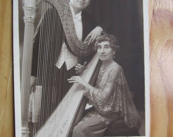 beautyfull Musicians with Harp  Real Photo  1940ies