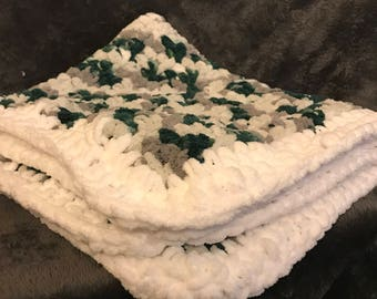 Green, Grey and White Crochet Baby Blanket