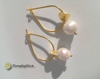 Pearls Earrings Gold