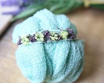 Newborn Photography Prop stretch Wrap & Matching Handmade Headband Baby girl or boy - Mint