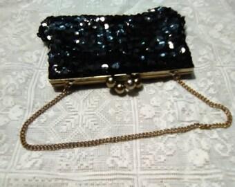 Vintage black sequins purse