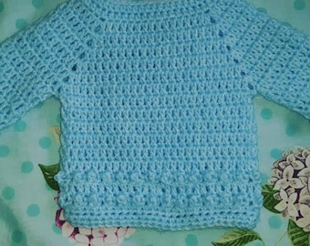 Baby newborn 0-3 months bobble detail baby jumper available in cream or blue new baby or shower gift