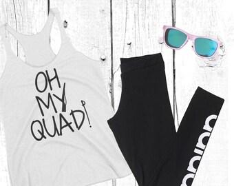 Oh My Quad WinterGuard (Black Print) Women's Racerback Tank, winter guard, color guard, colorguard, drum corps