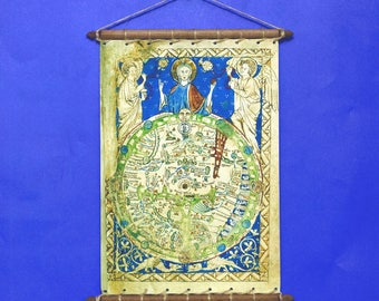 Ancient Antique Old Rare Psalter World Map 1260, Print On 100% Cotton Canvas, Swen to a Round Wooden Hanger Frame with Vintage Rope