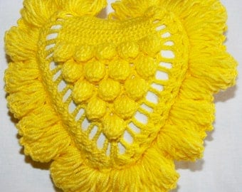 Yellow Crochet Heart Shaped Pillow-S