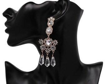 Long charm drop earrings