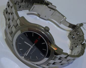 Gucci Stainless Steel Black Dial Date 5500 Series